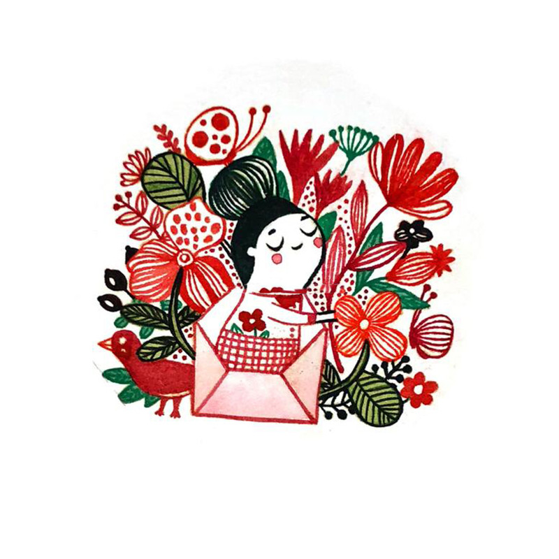 Enveloper Girl Flowers Message Dies and Stamps Metal Cutting Scrapbooking Album Decorative Embossing DIY Cards Making