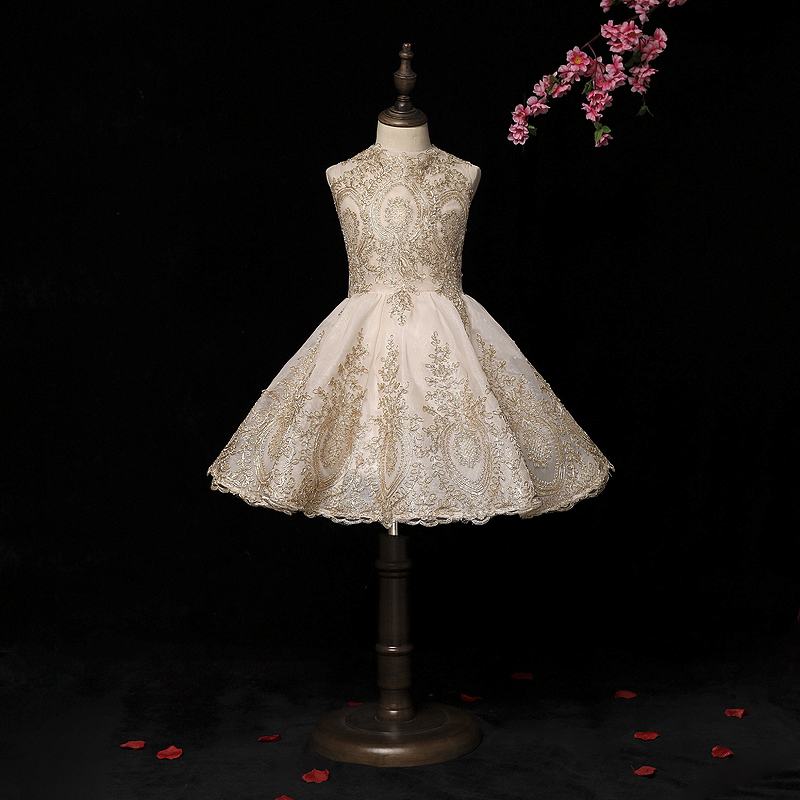 Finove Flower Girls Dress 2019 New Fully Embroidery Appliques Ankle Length Summer Girl Clothes Princess Dress