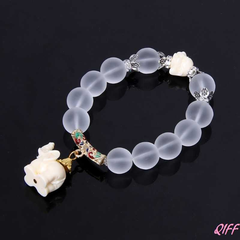 Milky Crystal Quartz Healing Power Bead Boho Elephant Matte Clear Bracelet Women