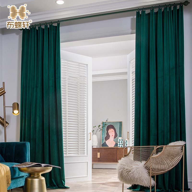 Nordic Ins Style High Grade Luxury Velvet Fabric Blackout Curtains for Living Room Bedroom Popular Cedrus Green Customized Size