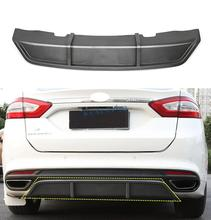 For Ford Fusion Mondeo 2013-2017 Carbon fiber Rear Bumper Lip Spoiler Cover Trim sport black real carbon fiber front grille lower bumper grill trim replacement honeycomb mesh for ford mondeo fusion 2013 2016