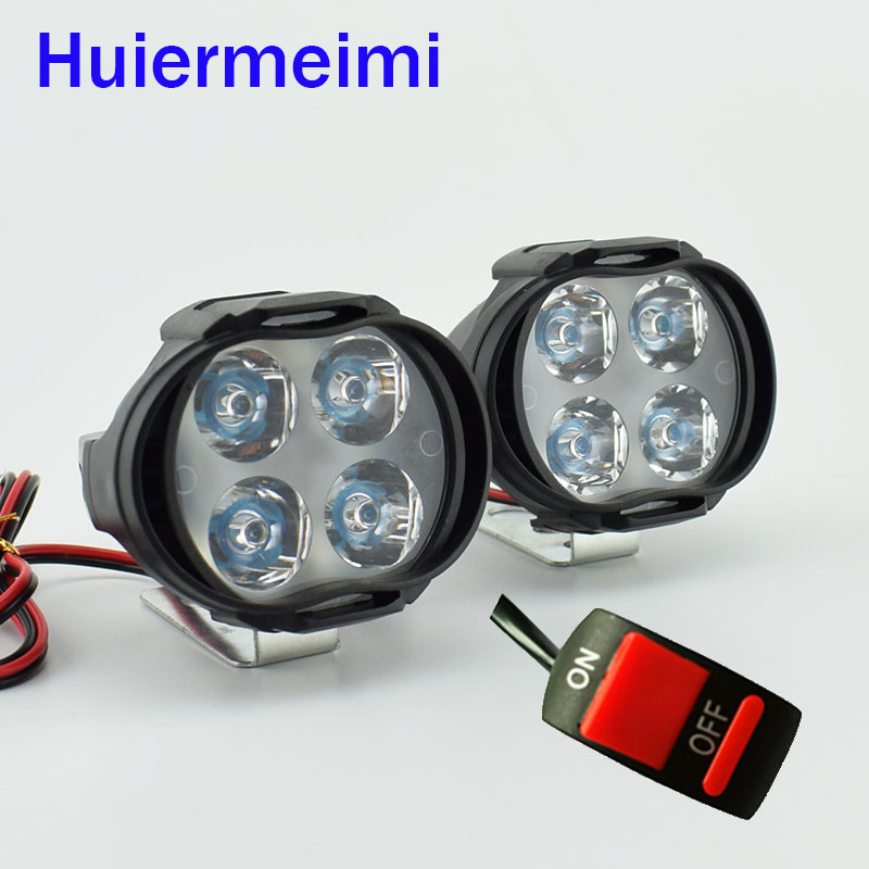 Huiermeimi 1Pair Motorcycle LED Headlight 8W 800LM LED 12V Car Fog DRL Headlamp Spotlight Driving Light Moto Head Auxiliary Lamp