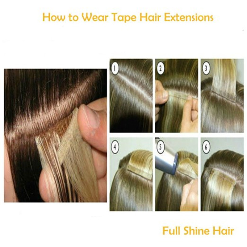 Full Shine Tape In Hair Extensions Human Hair Ombre Balayage Piano