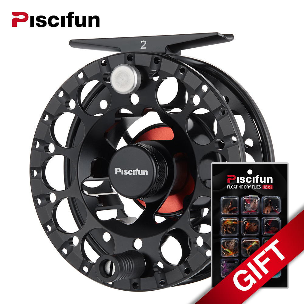 Piscifun Sword II Black Fly Reel 3/4 5/6 7/8 Sealed Drag Lighter CNC Machined Aluminium Alloy Right Left Hand Retrieve Fly Reel fly ff243 black