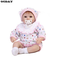 16Inch Reborn Baby Dolls Handmade Silicone Lifelike Girls Newborn Dolls With Milk Bottle Accessories Princess Dolls baby Gifts