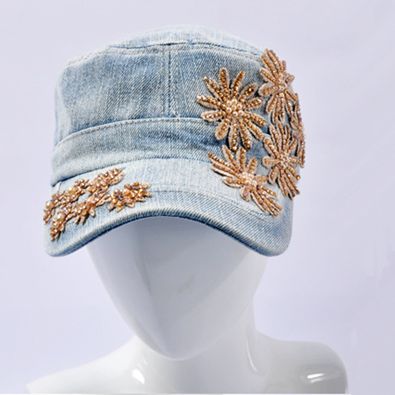 2017 Fashion Female Summer Anti-hat Leisure Wild Wild Cap Fashion 5 Hot Drill Bunny Hat fashion handpainted palm sea sailing pattern hot summer jazz hat for boys