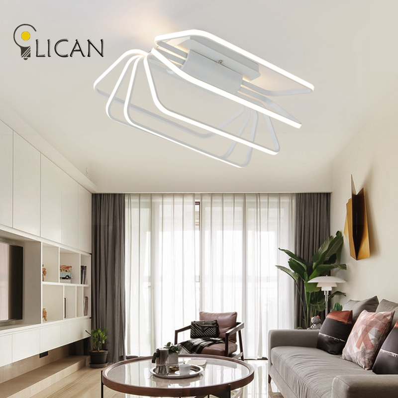 LICAN Surface mounted modern led ceiling lights for living room Bedroom Dining Room fixtures White indoor home Dec Ceiling Lamp noosion modern led ceiling lamp for bedroom room black and white color with crystal plafon techo iluminacion lustre de plafond
