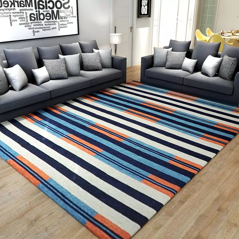 American style striped bedside carpet ,living room coffee table carpet, big size ground mat ,decoration office carpet