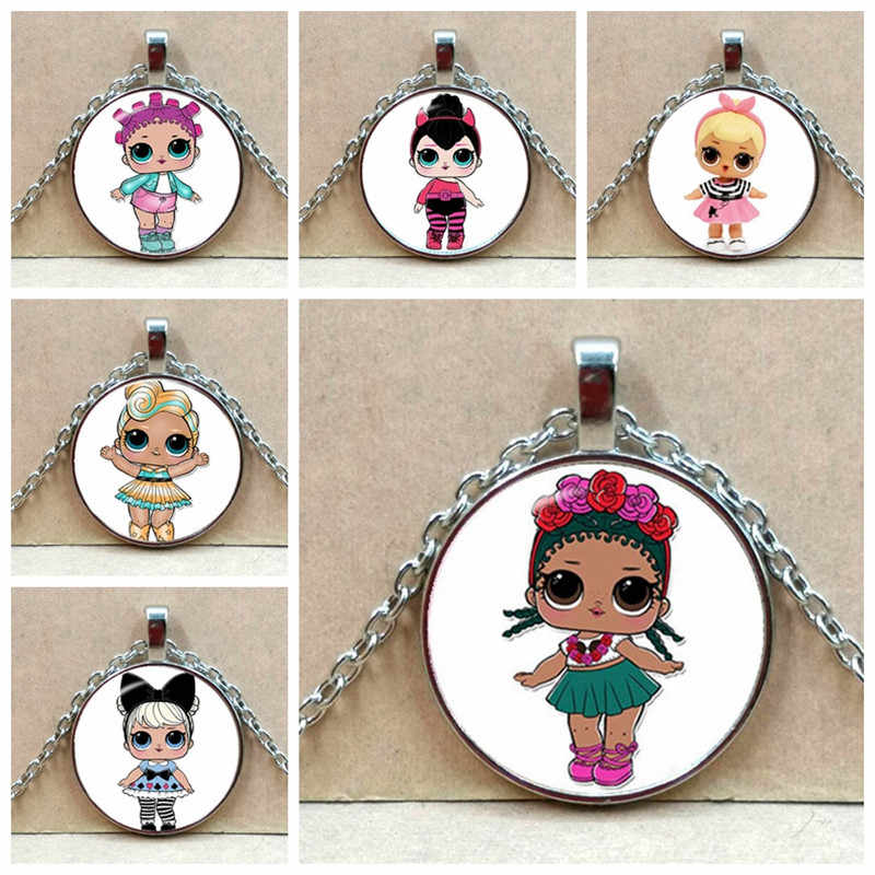Cartoon Dolls necklace Cute Baby Glitter Princess Dress Dolls Glass  necklaces   Anime For Kid's Birthday Gift