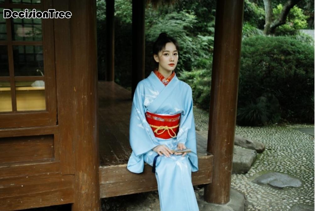 2019 Vintage Ladies Cosplay Costume Print Flower Japanese Kimono Elegant Evening Dress Casual Home Wear Women Robe Gown