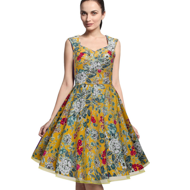 Nice-forever Ladylike Vintage Ball Gown dress Elegant Sleeveless Rayon Tops Lined Bottom Mesh Solid Pleated Cute Dress A003