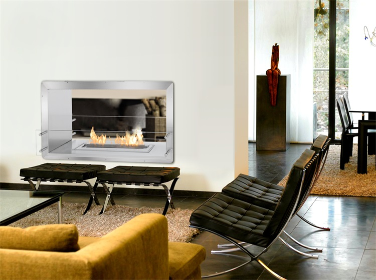 Double Sided Fireplace With Stainless Steel