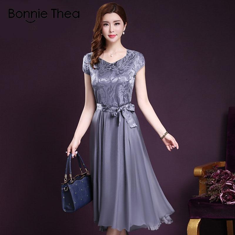 Bonnie Thea Women's Elegant Dress Female Summer big Size Dress Women's Vintage blue Long Dress 2019