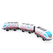 Electric Train Toys Magnetic Electric Train High-speed Rail Compatible With Thomas Train Tracks and All Kinds Of Wooden Railway(China)