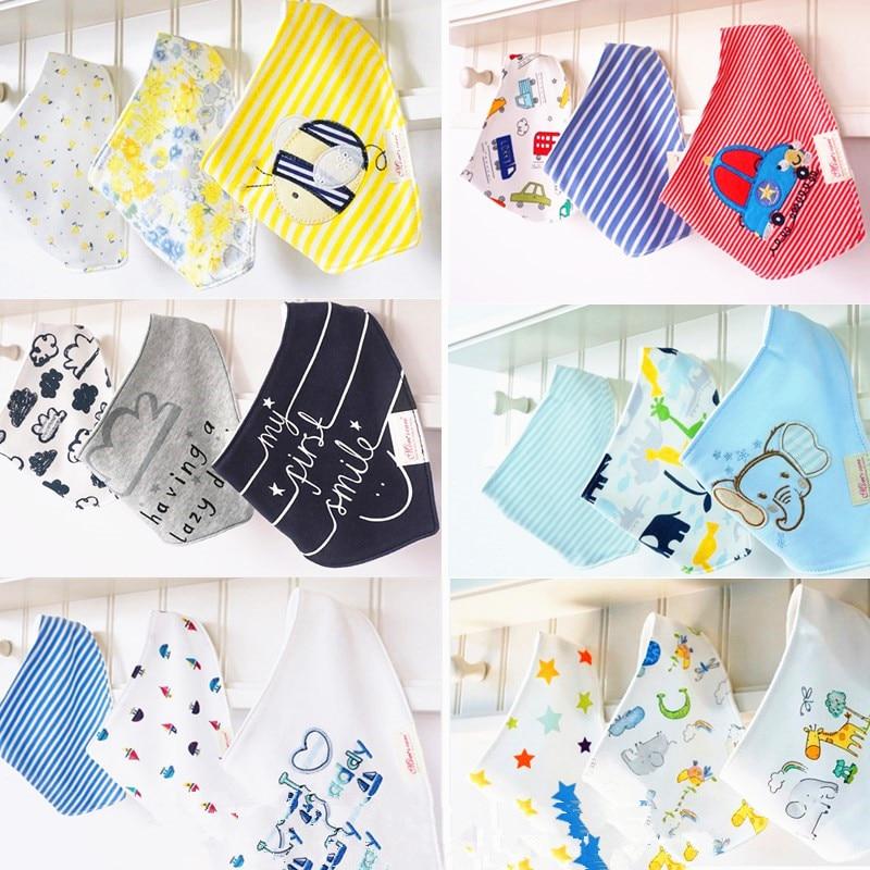 3pc = 1Set 100% bomull baby kläder flickor baby bibs handduk bandanas chiscarf ldren cravat spädbarn handduk atrk0001