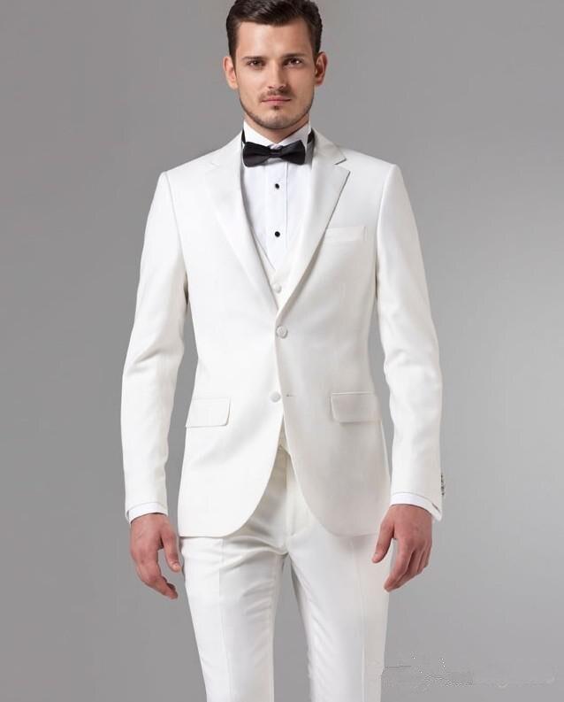 Hommes costumes pour mariage smoking 2019 sur mesure costume blanc de haute qualité marié porter