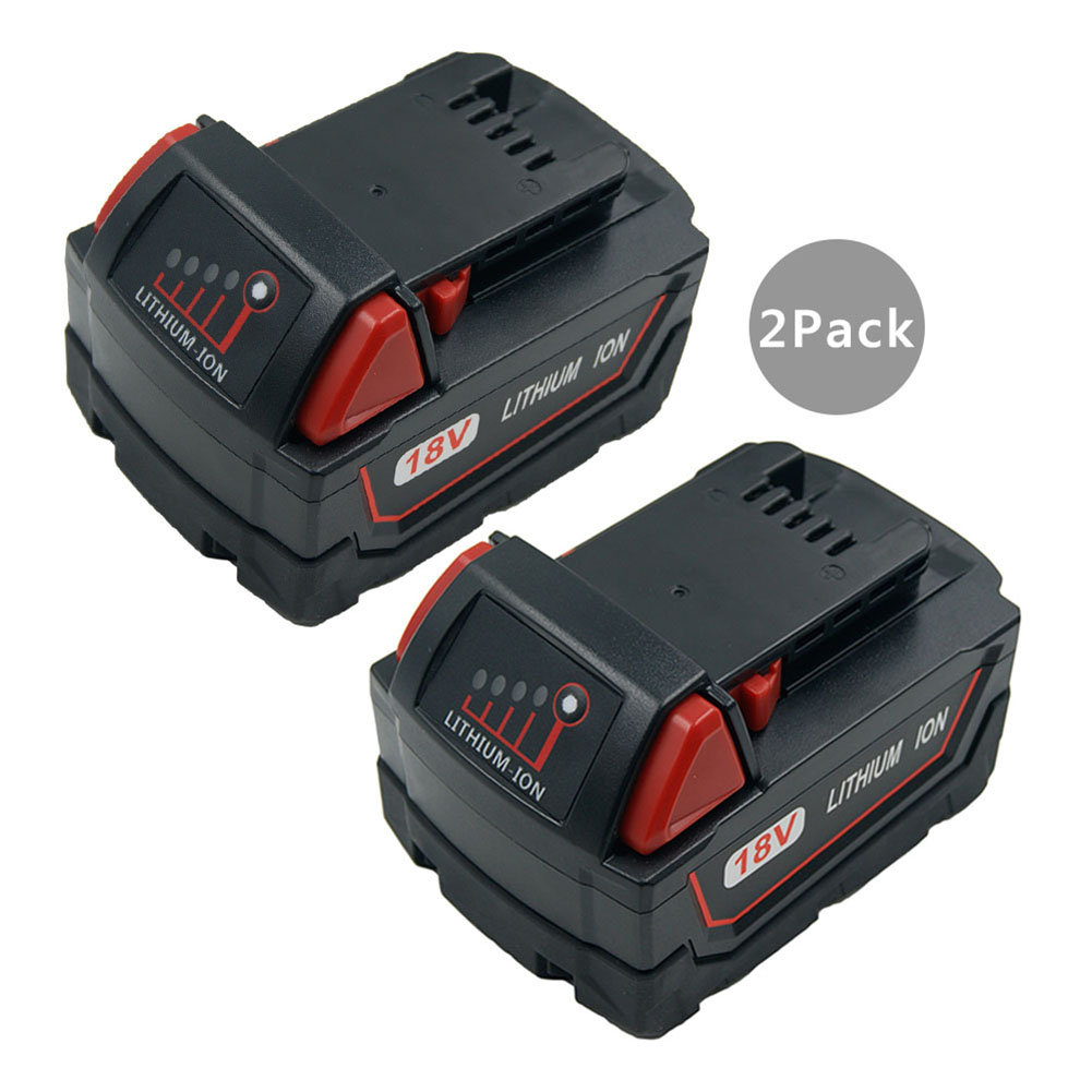 2PCS High Capacity 5.0A 18V Rechargeable Power Tools Battery for Milwaukee M18 5000mAh XC M18 48-11-1852 48-59-1850 M18BX replacement power tooll battery for milwaukee 18 volt 4 0ah 48 11 1828 m18 xc red lithium high capacity battery