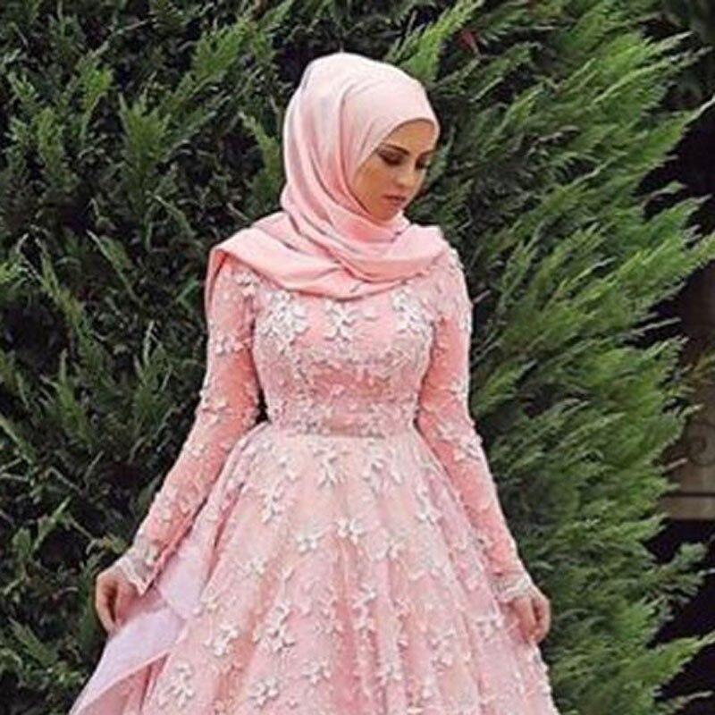 Vestido de novia 2017 hijab Musulmán Elegante Una Línea Rosa de ...