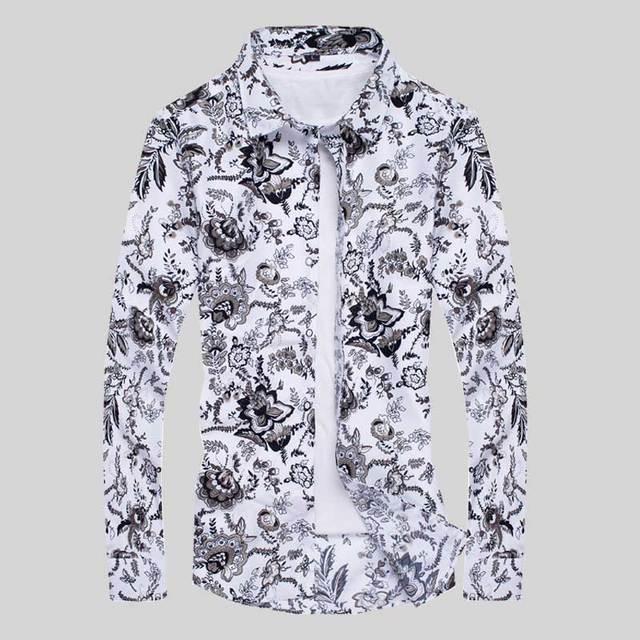 super popular 155a0 96de4 US $11.88 |Marca 2017 Camice di Vestito Mens Shirt Slim Fit Uomo Camicie  Uomo Camicia Fiori Etnici Heren Hemden Camisa Masculina M XXXXL in Marca  2017 ...