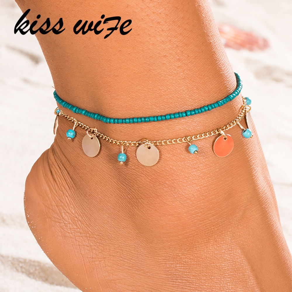 KISSWIFE 1 PC Anklet Foot Chain Ankle Snow Bracelet Charm Leaf Anklet Tassel Beach Vintage Foot Jewelry