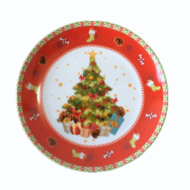 Christmas Plate Set.Us 43 67 16 Off Ceramic 8 Inch 10inch Plates Set Christmas Santa Plate Edible Hand Painted Cartoon Flat Dish Home Deco Tray Christmas Gift 2pcs In