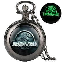 YISUYA Aydınlık cep saati Kuvars Analog Özel Jurassic Park Desen İzle Kolye Bağlantı Zinciri En Iyi Hediye cep saati