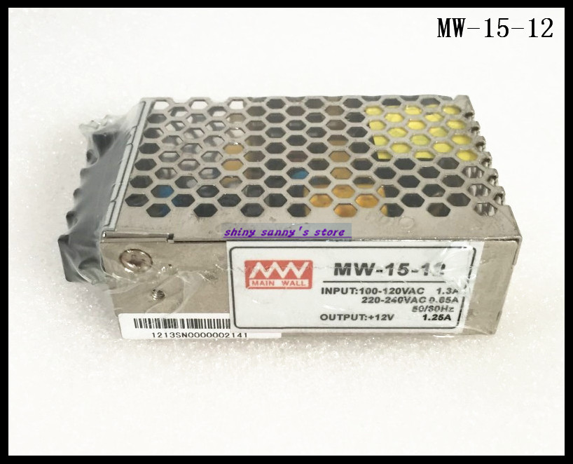 1Pcs MW-15-12 15W 12V 1.3A 100-240Vac Input ,12VDC Output Regulated Switching Power Supply Ac to Dc Brand New rps369 10 pieces per lot 36 vdc 9 7a regulated switching power supply with 85 132 176 265 vac input