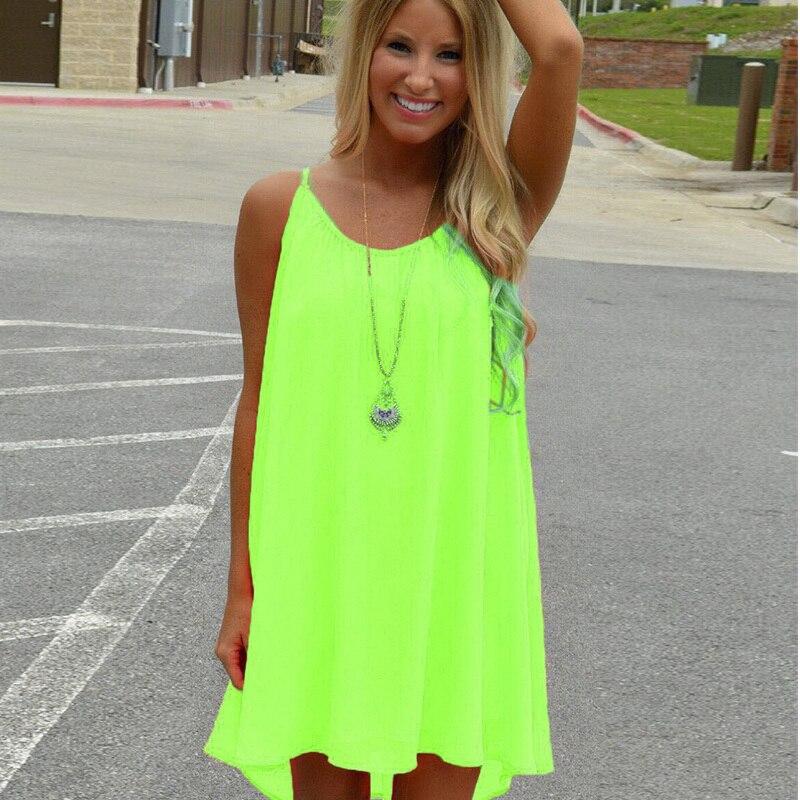 Women Neon Color Flare Mini Dress Sexy Back Mesh Spaghetti -1218