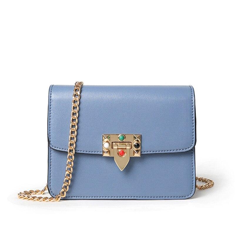 Hot Sale Luxury Brand Fashion Leather Women Messenger Bags Rivets Chain Small Flap Shoulder Bag Solid Color Handbag Purse Clutch
