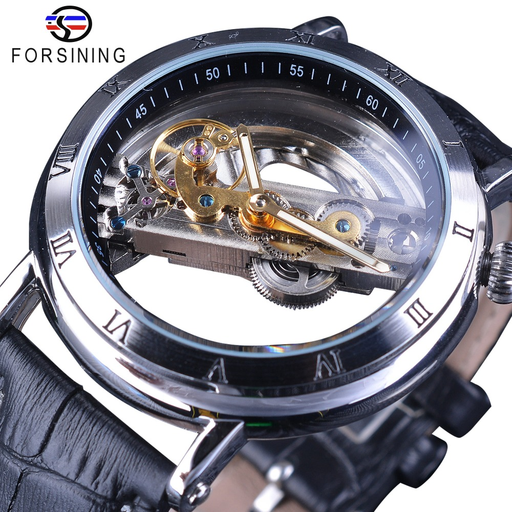Forsining Minimalist Design Double Side Transparent Men Business Crown Head Skeleton Mens Watch Top Brand Luxury Automatic Watch new arrival silver transparent skeleton open face design pocket watch women mens gift clock with 30cm chain p1038c