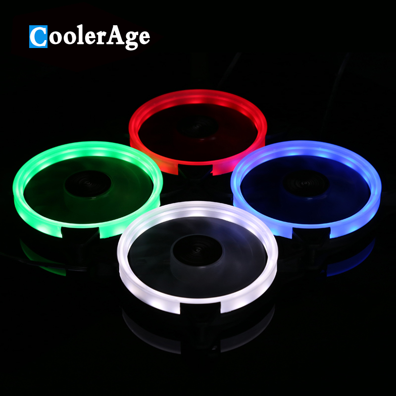 цена на CoolerAge 120mm LED Cooler 3pin Fan for Computer Case / CPU Cooler / Water Cooling Silent Fan