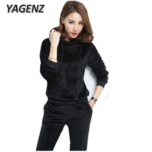 YAGENZ Autumn 2 Piece Set Women Sporting Suit 2017 Loose Hooded Tops Trousers Gold Velvet Casual