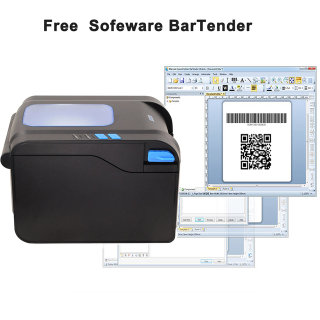 Xprinter 80mm Thermal Label Printer 20mm-80mm Barcode Sticker Printer Bluetooth Printer 365B 370B 330B LAN Bluetooth USB 3