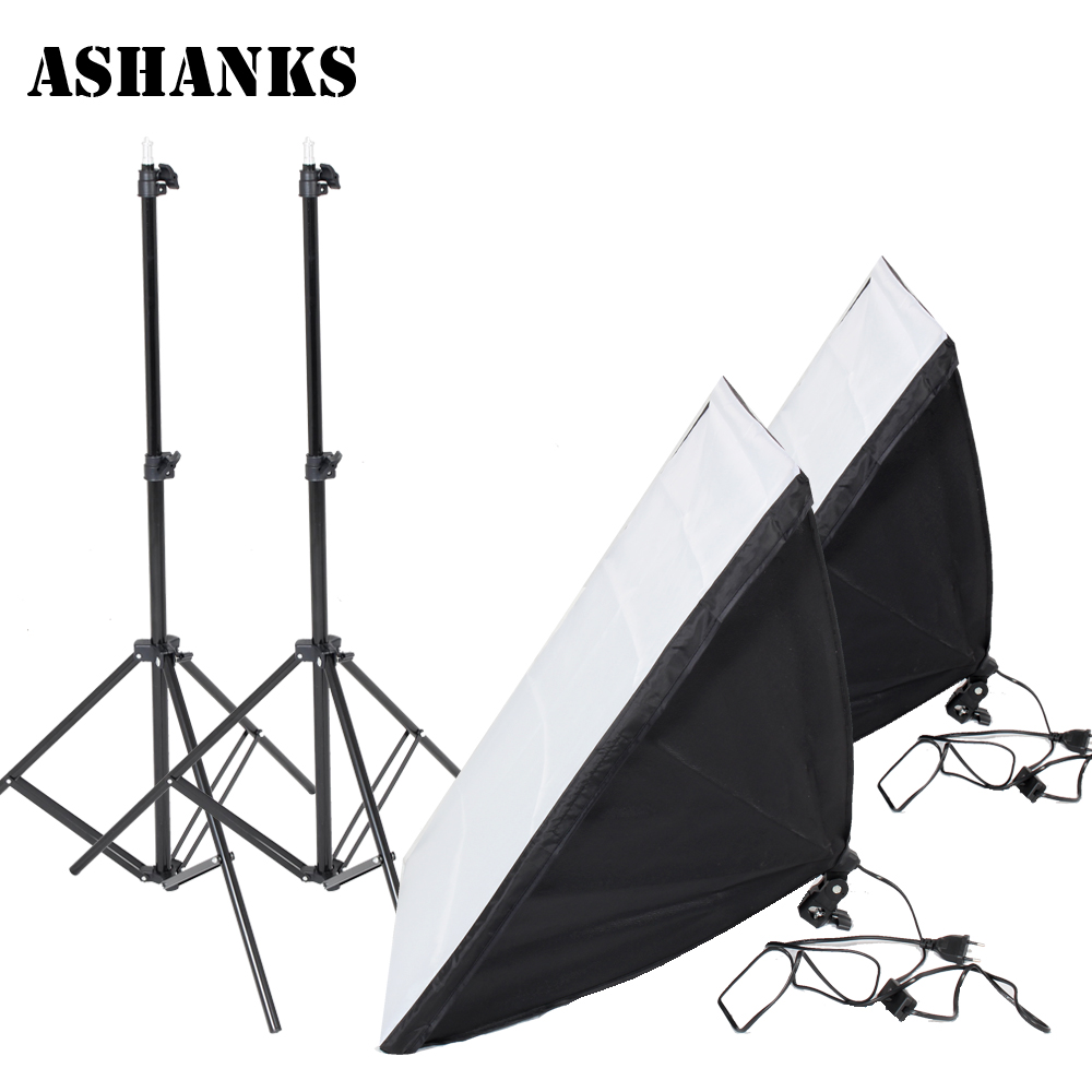 Photography Accessories Light Softbox Kit for Studio Photo E27 Lamp Holder 2PCS Reflective Light Box with 2M Lights Stand Tripod coolsa new summer linen women slippers fabric eva flat non slip slides linen sandals home slipper lovers casual straw beach shoe page 3