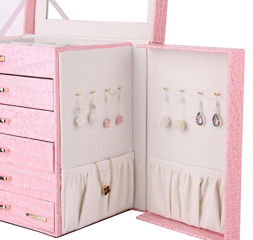 Pink Large Jewelry Box Velvet Display Organizer Girls Gift Necklace Earrings Rings Storage Case Jewellery Mirror