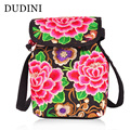 DUDINI Women Fashion Backpack National Wind Embroidery Ethnic Flower Handmade Embroidery Canvas Bags Casual Bags Travel Backpack