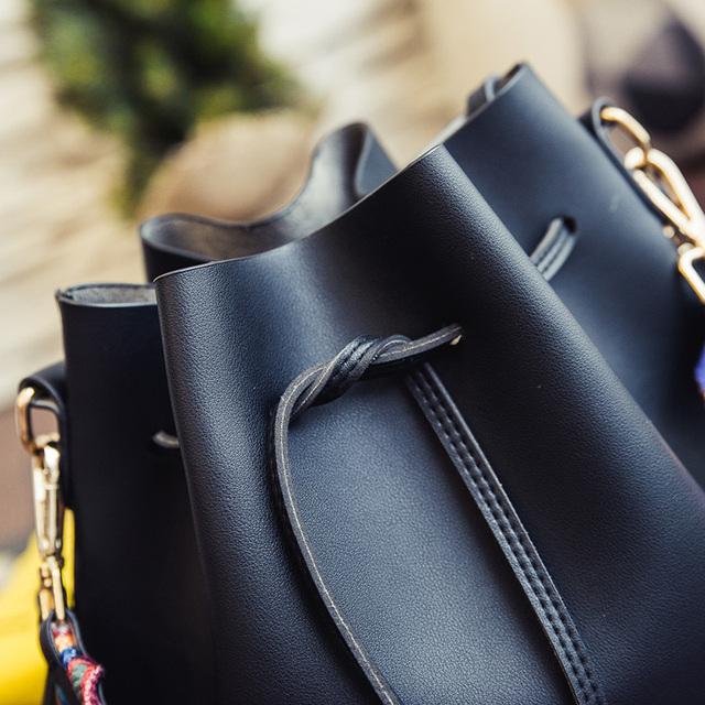 Fashion color Strap bucket bag Women High Quality pu Leather Shoulder Bag Desinger Ladies Crossbody Bags bolsa feminina Handbags