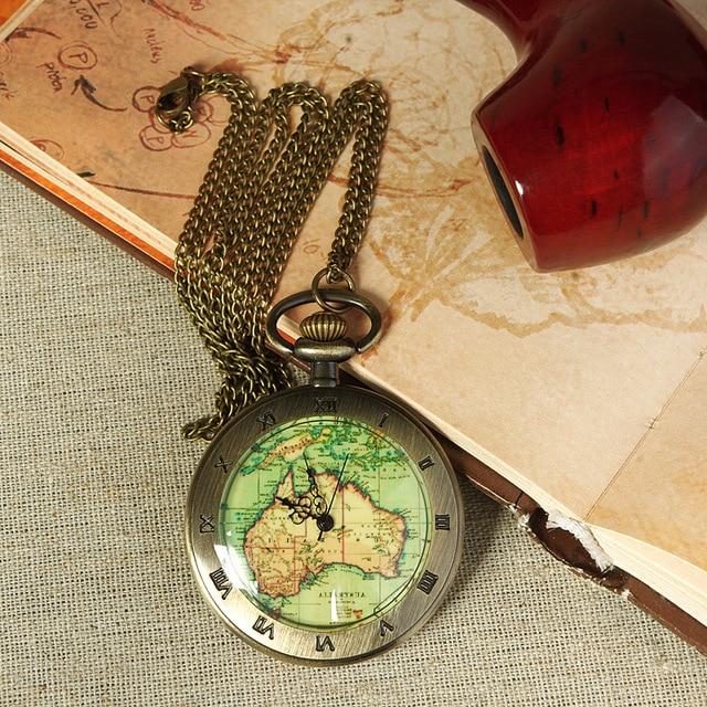 AAA Vintage Fashion Quartz Pocket Watch Roman Map Necklace Pendant Chain Clock W
