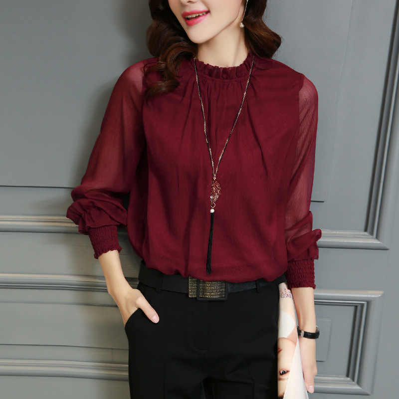 Blusa de chifón nuevas blusas de manga larga cuello de pie camisas de trabajo elegantes blusas casuales de mujer blusas de talla grande