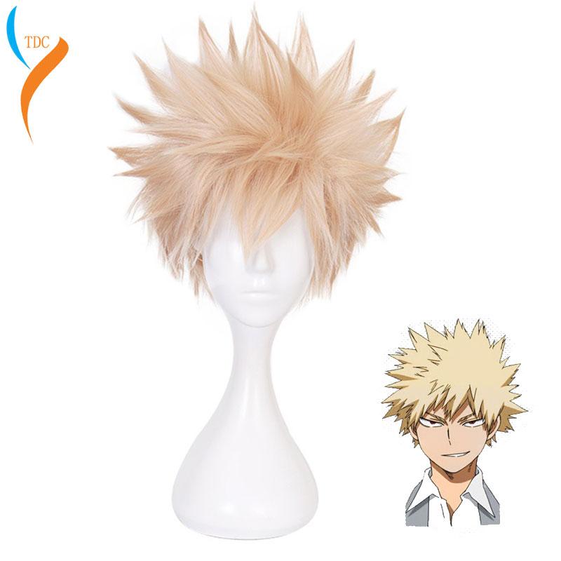 Anime My Hero Academia Baku No Hero Bakugou Katsuki Bakugo Short Linen Blonde Heat Resistant Cosplay Costume Wig