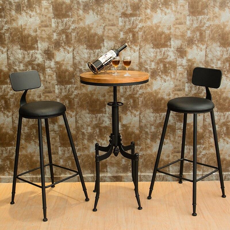 Banquetas nouvelle vente 2019 chaises modernes en bois Sillas Para Barra rétro fer café Bar Table et chaise combinaison ronde haut banc