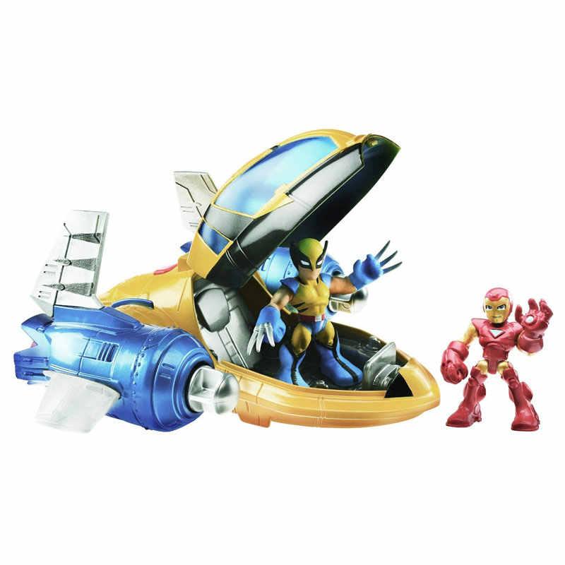30 см Marvel мстители Супер Герои Железный человек фигурка Росомахи самолет Человек-Паук Спасательный космический корабль ПВХ фигурка игрушки подарки для мальчиков