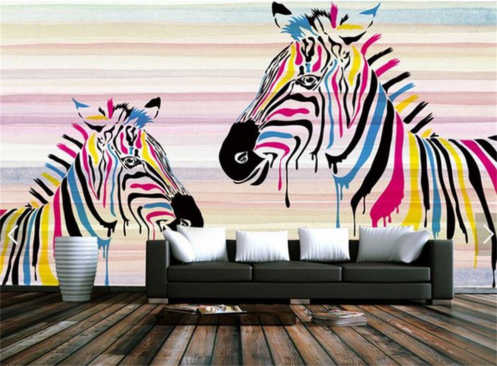 Behang Kinderkamer Zebra : 3d behang custom foto hd muurschildering mode kleur zebra muur