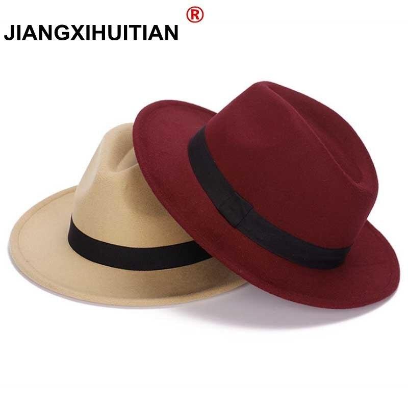 2017 Nuovo Stile GD Morbido Delle Donne Dell'annata Lana Tesa Larga feltro Bowler Hat fedora Floppy Cloche delle Donne Panama Cappello per il Sole Trilby