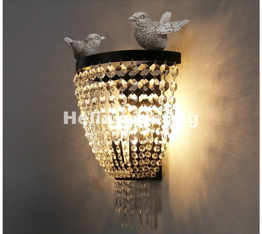Nordic Black Modern Bird Nordic Vintage Lamps Wall Bedroom Light Bedside Lamp With E27 LED Bulb Wall Light For Home Decorations modern wall lamp glass ball led wall sconces bedside wall light fixture bedroom luminaria home lighting vintage lamp