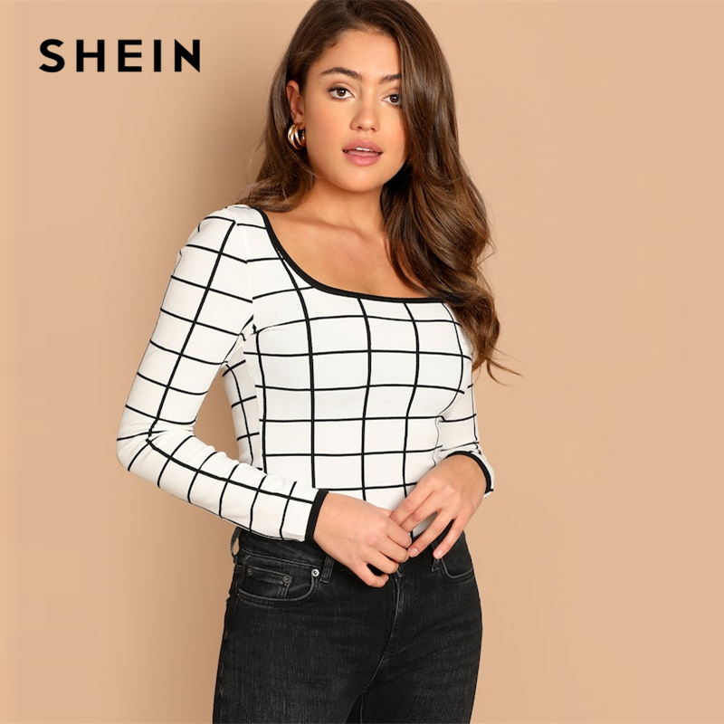 SHEIN White Contrast Binding Grid Scoop Neck Slim Fit Long Sleeve Tee 2019 Spring Casual Women Modern Lady Highstreet Tshirt Top