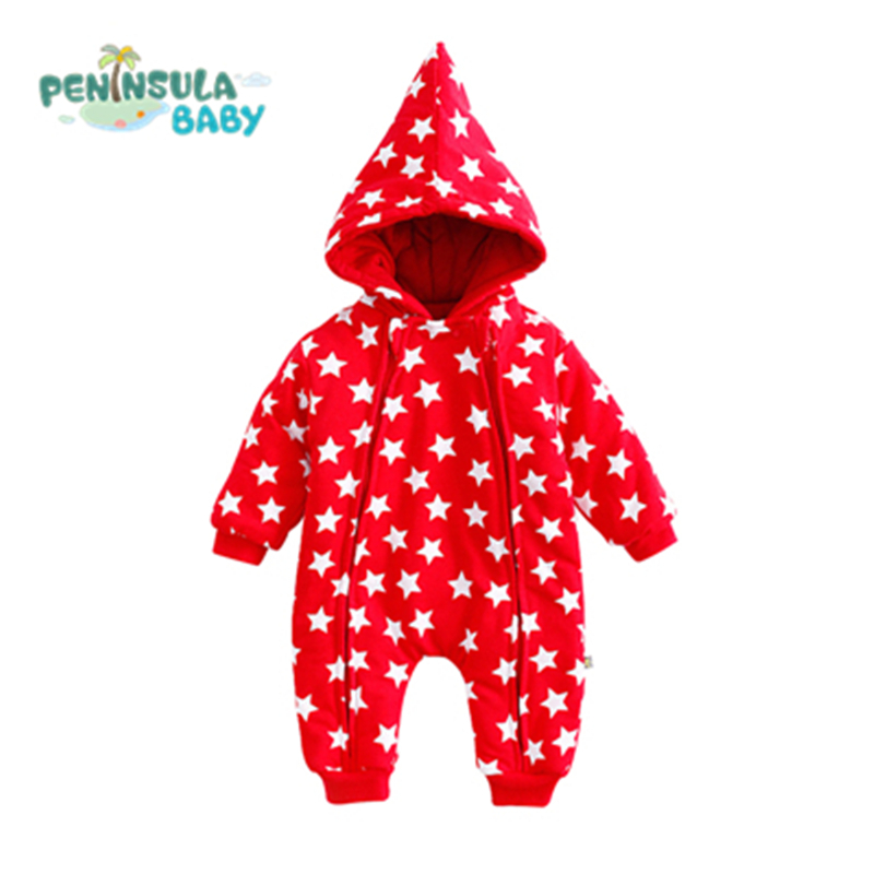 Newborn Baby Rompers Christmas Clothing Hooded Warm Jumpsuit Star Cotton Crawling Overalls Infant Thicken Outerwear For Gift christmas newborn cashmere baby rompers infant clothing winter warm thicken cotton baby jumpsuit long sleeve boys girls sweater