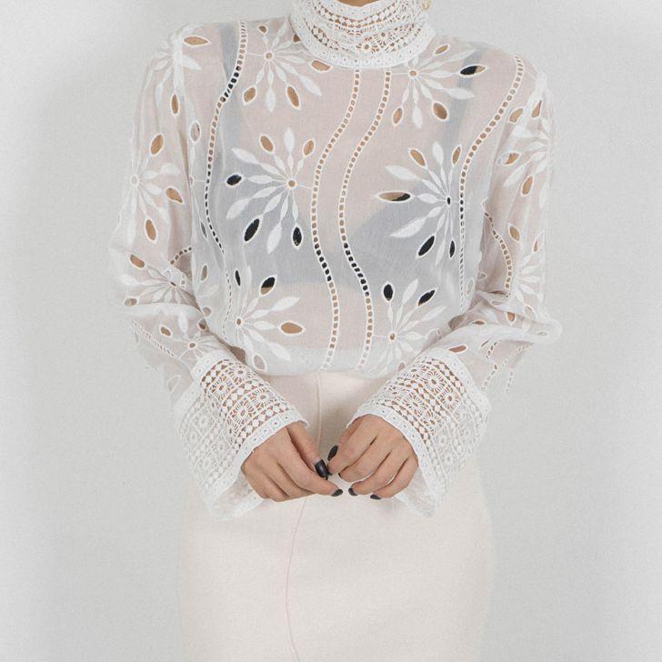 Линетт's chinoiseroy летние женские винтажные открытые кружевные рубашки - 5