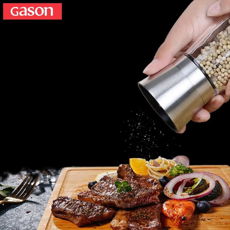 GASON salz und pfeffer grinder pfeffer mühle manuelle PP material salz schleifen gewürz pfeffer würzen 304 edelstahl grinder