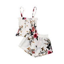1-4T Toddler Baby Girl 2Pcs Slim Ruffle Strap Button Ruched Vest Crop Tops Floral Loose Shorts Kids Casual Summer Outfit Clothes